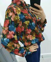 Zara stunning floral print chiffon button up shirt size S