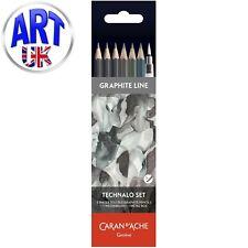 Caran d'Ache Artists Graphite line TECHNALO SET 6 Assorted Pencils Water Brush