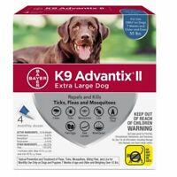NIP Bayer K9 Advantix II for Extra Large Dog Over 55 lbs 4 Pack Doses kills flea