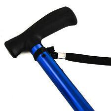 HUGO HurryCane Folding Cane T Handle Blue Tripod Travel Collapsible Adjustable