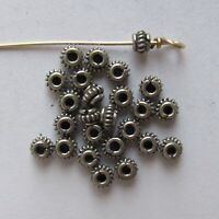 Small Bali Sterling Silver Collared Wire Coil Rondelle Beads - 2.5x4 mm - 8 PCS