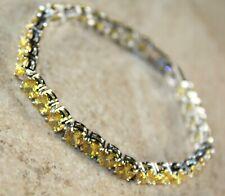 "Silver Elegant Yellow Citrine Round Bracelet Girls Woman Jewelry Gift 7.25"""