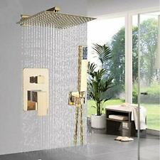 Onyzpily Gold Square Rainfall Shower System Wall Mounted with 2 Function 12""