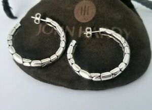 """John Hardy - Kali Collection Sterling Silver Hoop Earrings - 1 1/2"""" - Mint! $395"""