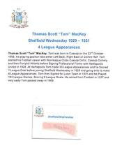 TOM Mackey Sheffield Wednesday 1929-1931 rara mano originale firmato TAGLIO / CARD
