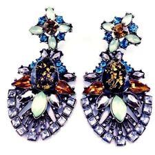 Big Victorian Revival Earrings Rhinestone Vintage Antique Reproduction Pierced