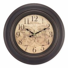"""12.05"""" Brown Round World Map Design Analog Wall Clock Home Office Bedroom Decor"""