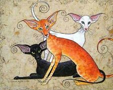 Oriental Cat art print limited edition from original painting Suzanne Le Good