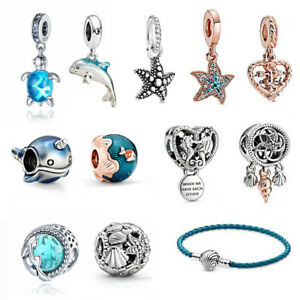 Seashell Starfish Narwhal Summer 925 Sterling Silver Charm Without Pandora Pouch
