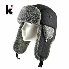 Faux Fur Bomber Hat For Males Winter THick Warmth Hat With Earflaps Double La...