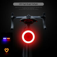 Bicycle Light Rechargeable Bike Rear Tail Light LED Warning Safety Smart Lamp