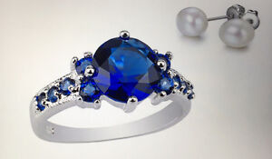 2.33 CTTW Lab-Created Blue Sapphire Ring and Pearl Earrings Size 5