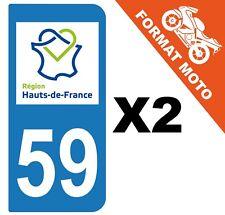 2 AUTOCOLLANTS PLAQUE IMMATRICULATION MOTO DEPT 59 REGION Haut de France
