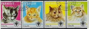 PARAGUAY 1979 Domestic CATS Series International Year of Child 5/6/7/8 gs STAMPS