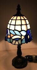 "Elements Tiffany Style 12"" Table Lamp Stained Glass Blues 5"" Diameter Shade"