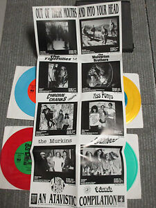 """Out Of Their Mouths And Into Your Head 4X 7"""" colored vinyl 1991 box set w/poster"""