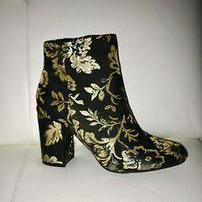 991a5a06d492 NEUVES BOTTINES JUST FAB 39 Black Brocade BOOTS 9 BOOTIES Noir et or Talon  8 cms
