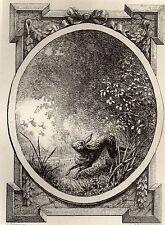 EAU FORTE / Fables de la Fontaine 1883 / LE LIEVRE ET LES GRENOUILLES