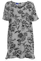 Women's V Neck Floral Print Ladies Plus Size Oversized Tunic Top Short Dress