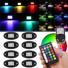 8Pcs RGB LED Rock Light Wireless Bluetooth Music Offroad Truck Lamp Multi-color