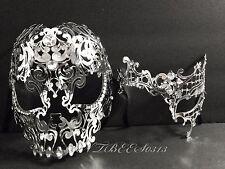Men Women Silver Metal Evil Skull And Phantom Laser Cut Masquerade Mask