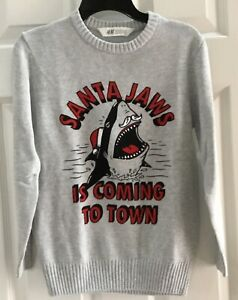 H&M Boys Youth Size 8-10 Gray Santa Jaws PulloverSweater