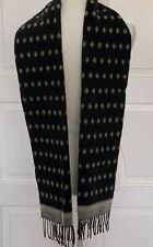 Vintage, Gianni Versace, Black & Gray Wool Scarf, Fringe,Unisex, Italy, 80s