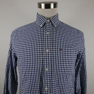 Tommy Hilfiger Mens Classic Fit LS Button Down Navy Blue Checkered Plaid Shirt S