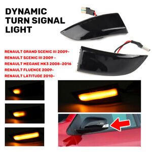Dynamic Rearview Mirror Indicator Turn Signal LED Light For Renault Megane MK3
