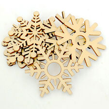 10Pcs Assorted Wooden Snowflake Xmas Tree Hanging Ornament Decoration up-to-date