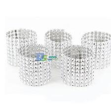 100pc 8 Row Rhinestone Wedding Bling Napkin Ring Party Holder Table Decor