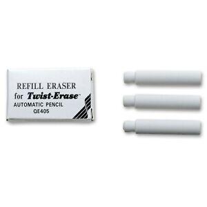 E10 Pentel Refill Erasers for Twist-Erase Pencils, White Erasers, 3 Boxes of 3