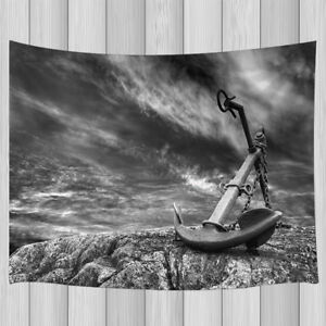 Old Nautical Anchor Gray Stone Shore Tapestry Wall Hanging Room Decor Multi Size