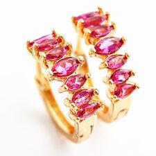 18K Gold Plated Pink Ruby Hoop Earrings