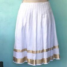 Ralph Lauren Black Label Women's Pleated Linen Skirt Size 4 White Gold A-Line