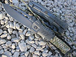 3 in 1 Einhand Outdoor Messer Outdoorset  Firestarter schwarz/oliv Taschenmesser