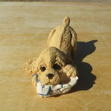 Dog Figurine, Kathy Wise, 1994, Cocker Spaniel with Tennis Shoe, partial Sticker