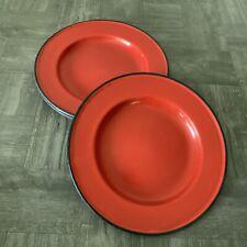 "6 Vtg Country Farmhouse Camping Red Used Good Enamelware 10"" Enamel Dinner Plate"