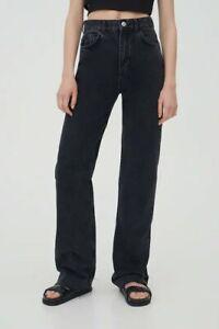 Pull&Bear Straight-leg High Waist Non-Stretch Cotton Black Jeans