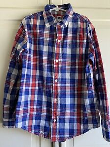 Janie And Jack Size 8 Button Down Boy's Cotton Summer Blue & Red Plaid Shirt
