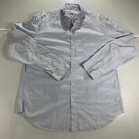 J Crew Button Up Shirt Adult XL Blue White Casual Long Sleeve Dress Plaid Mens