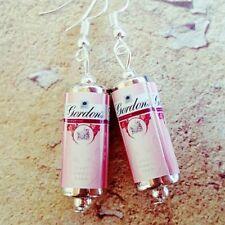 Unique GORDON'S PINK GIN & TONIC EARRINGS handmade DESIGNER drink MINIATURE can