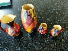 More details for vintage oldcourt ware hand painted with vibrant pink tones lustre set