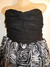 2B bebe L Dress Strapless Black Gray Floral Puffy Bubble Roses Formal Prom Sexy
