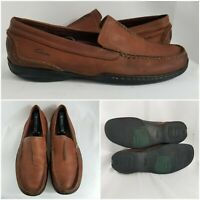 Clarks Collection Brown Leather Low Loafer Slip On Comfort Mens Shoes Size 12