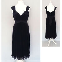 J Taylor Velvet Black Dress 14 Strappy Midi Party Evening Formal Cruise Cocktail