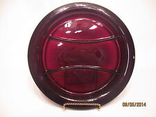 "Vintage Ruby Red Glass 10 1/2"" Rimmed Divided Relish Plate Tray"