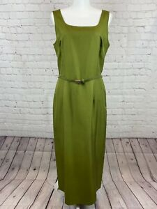 ANN TAYLOR olive green classic silk bodycon dress with belt size 12