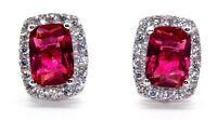 Sterling Silver Ruby And Diamond 4.76ct Earring (925) Free Luxury Box