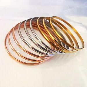 Women's Rose gold/silver/gold Round seamless Bracelet S.steel charm 4*60mm